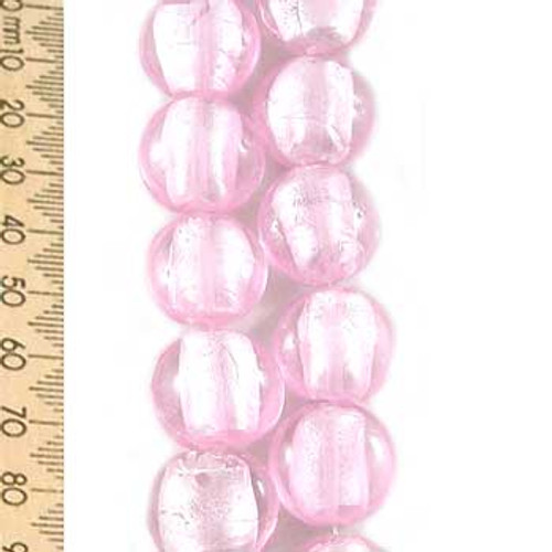 Pink Disc Glass Lampwork Bead Strands