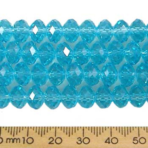 Aquamarine Blue 8mm Rondelle Glass Crystal Strands