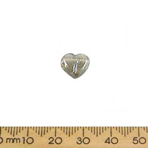 Grey Lustre Top Drilled Glass Heart Beads