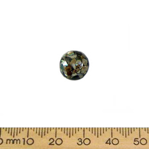 10mm Black w Paua Resin Round Cameo