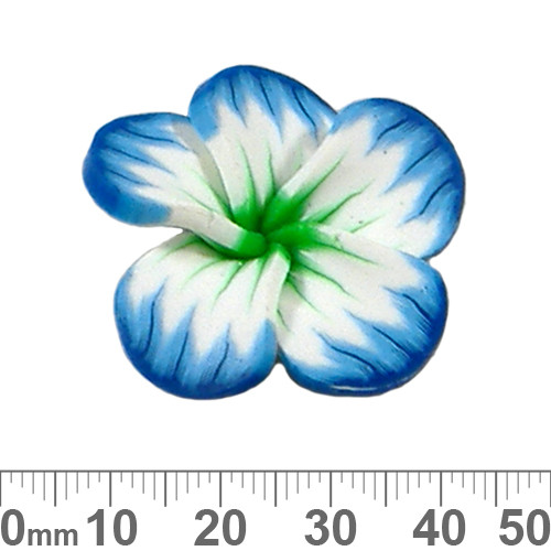 CLEARANCE Blue/Green Hibiscus Clay Flower Beads