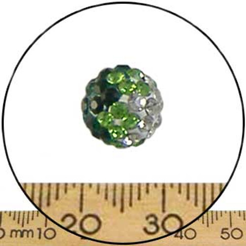 10mm Sparkly Green Trans Green/Clear Pave Bead