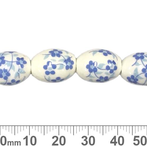 15mm Oval Blue Sakura Ceramic Bead Strands