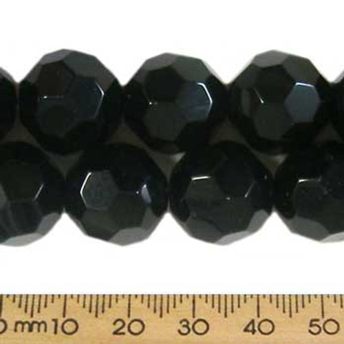 Black 16mm Round Glass Crystal Strands