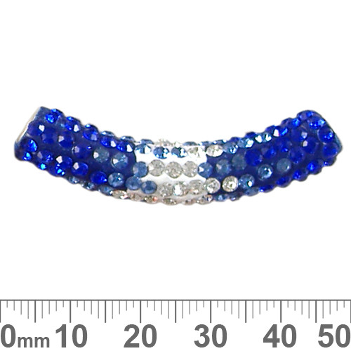 45mm Sparkly Transitional Dark Blue/Clear Pave Tube