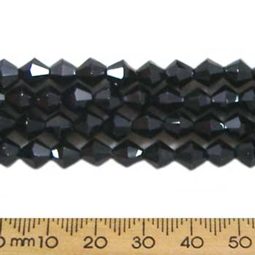 Jet Black 6mm Bicone Glass Crystal Strands