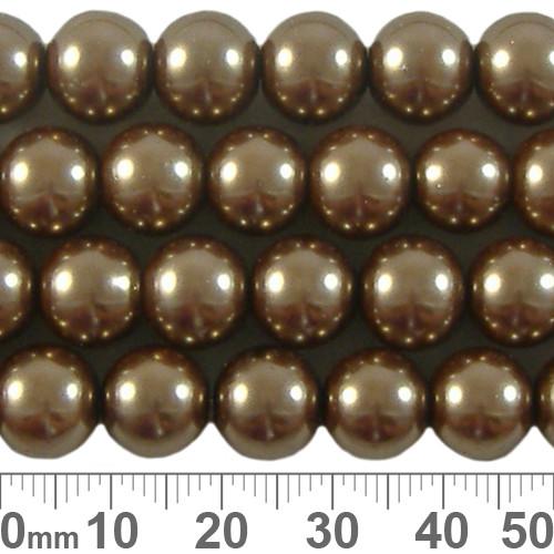 CLEARANCE 10mm Dark Beige Glass Pearl Strands