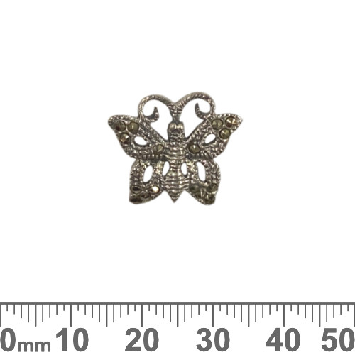 Small Marcasite Butterfly Sterling Silver Pendant