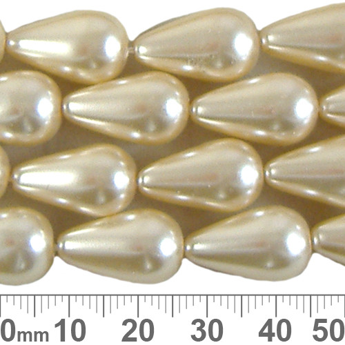 CLEARANCE 18mm Apricot Cream Teardrop Czech Glass Pearl Strands