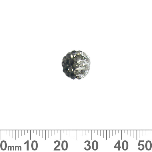 10mm Sparkly Transitional Black/Clear Pave Bead