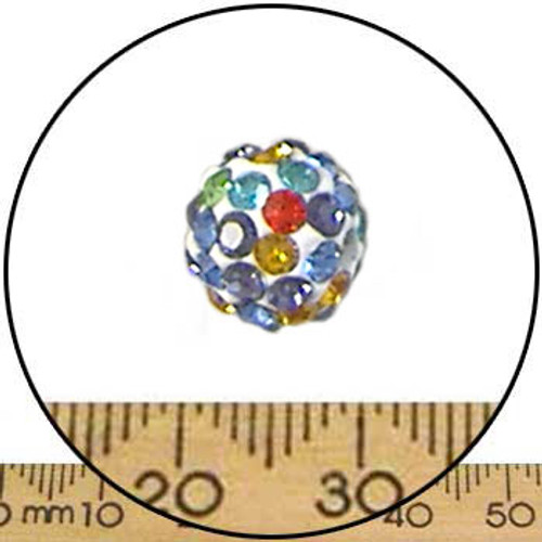 10mm Sparkly Multi-Colour Pave Bead