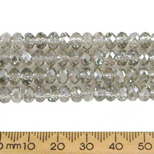 Smoky Quartz Grey 6mm Rondelle Glass Crystal Strands