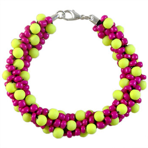 CLEARANCE Neon Pink & Yellow Beaded Kumihimo Bracelet Kit