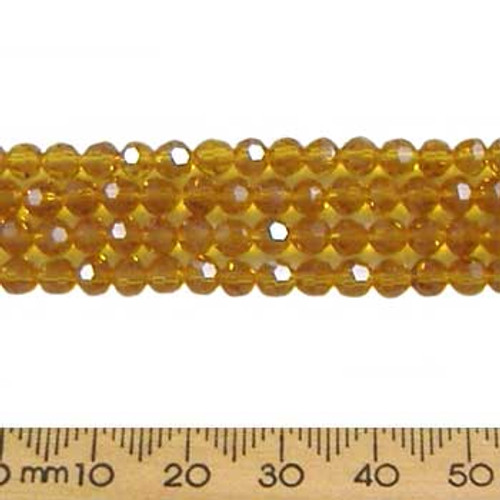 Amber Brown 4mm Round Glass Crystal Strands