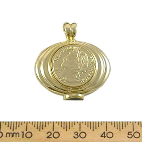 Golden French Coin Metal Pendant