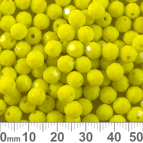 BULK Opaque Yellow 6mm Round Faceted Glass Crystal Beads