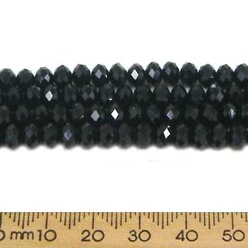 Jet Black 6mm Rondelle Glass Crystal Strands