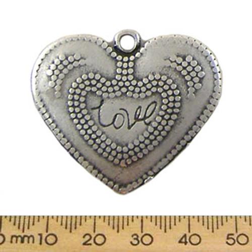 Silver Flat Love Heart Metal Pendant