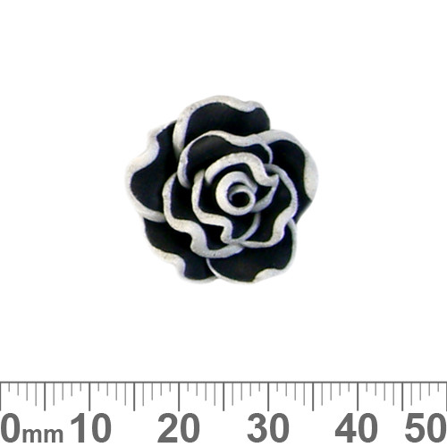 Black Rose Clay Flower Beads