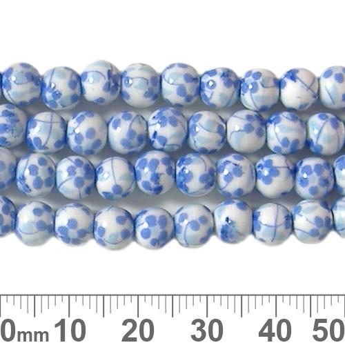 6mm Round Blue Sakura Ceramic Bead Strands