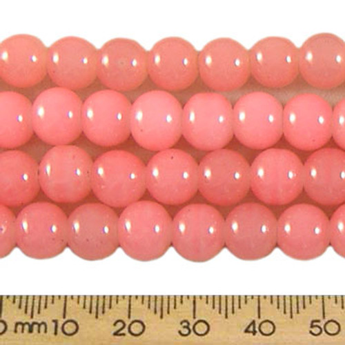 CLEARANCE BULK 10 x 8mm Round Pastel Coral Glass Bead Strands
