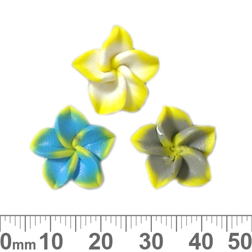 15mm Frangipani Clay Flower Beads
