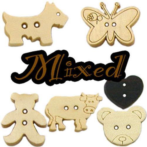 Wooden Button Mixed Pack