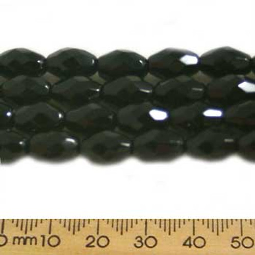 CLEARANCE Black 11mm Oval Glass Crystal Strands