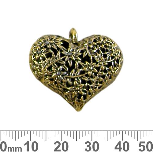 Gold Twisted Flower Vine Heart Metal Pendant