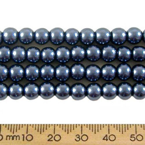 6mm Dark Blue Glass Pearl Strands