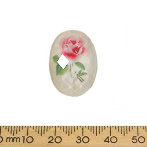 25mm White Rose Faceted Resin Oval Cameo