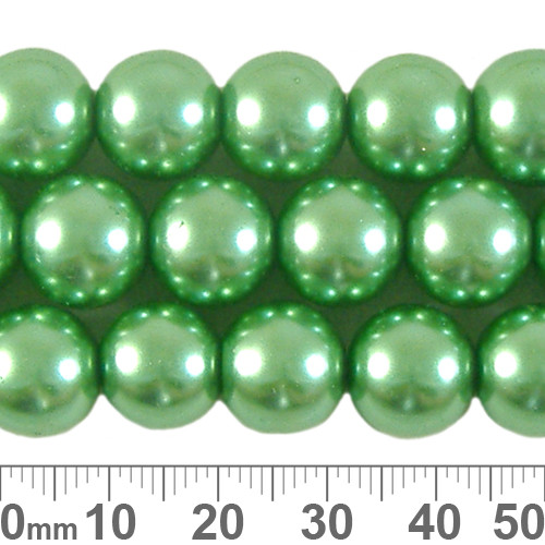 CLEARANCE 12mm Medium Green Glass Pearl Strands