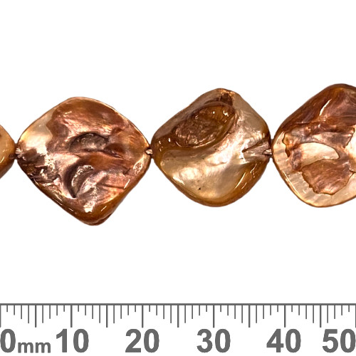 18mm Red Brown Flat Nugget Shell Bead Strands