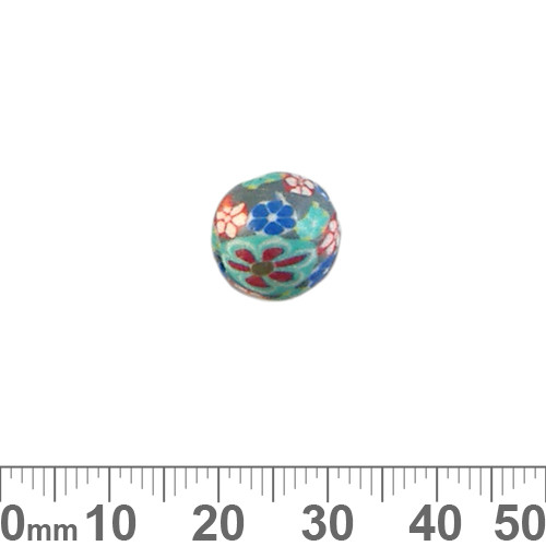 12mm Teal Flower Round Clay Beads