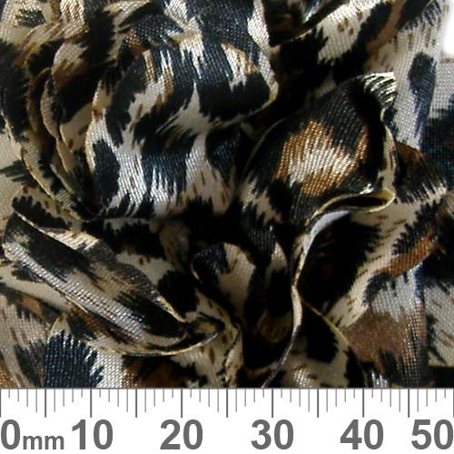 60mm Dark Leopard Spot Fabric Flower