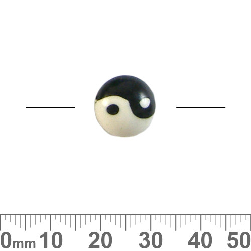 12mm Black/White Yin Yang Round Disc Clay Beads