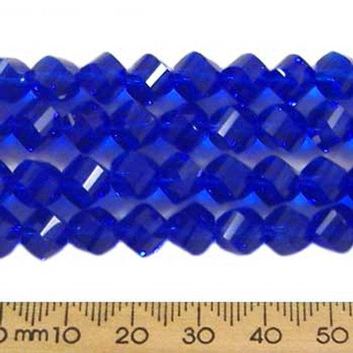Dark Indigo Blue 7mm Helix Glass Crystal Strands