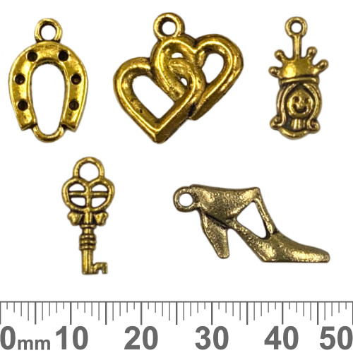 CLEARANCE Gold Metal Charm Mixed Pack - Lucky Hearts