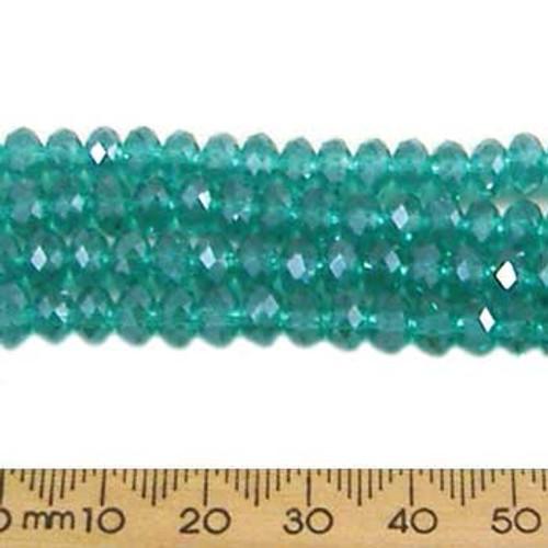 Teal Green 6mm Rondelle Glass Crystal Strands