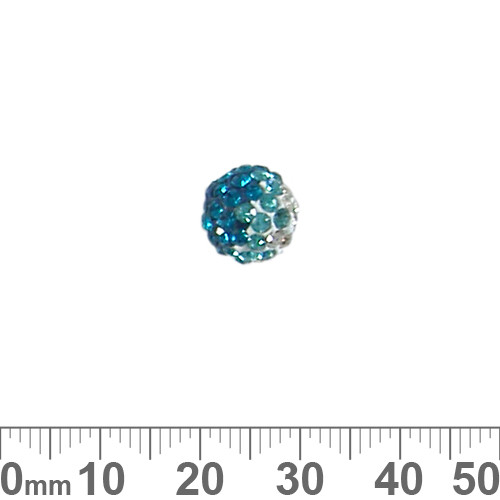 10mm Sparkly Transitional Teal/Clear Pave Bead