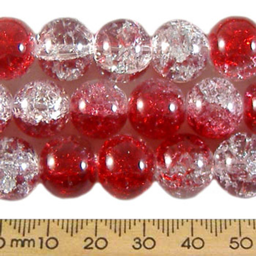 12mm Round Red/Clear Crackle Glass Bead Strands