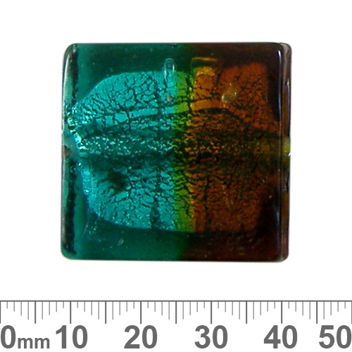 30mm Teal/Brown Silver Foil Flat Square Glass Bead