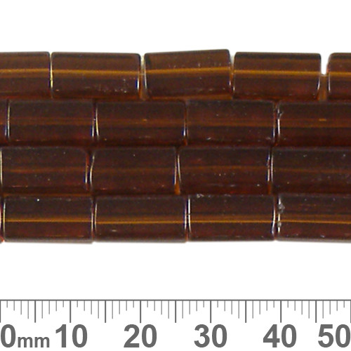 13mm Brown Rectangular Glass Bead Strands