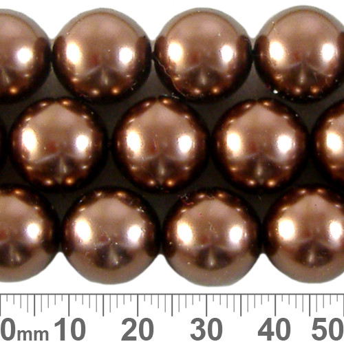 CLEARANCE 12mm Dark Brown Round Czech Glass Pearl Strands