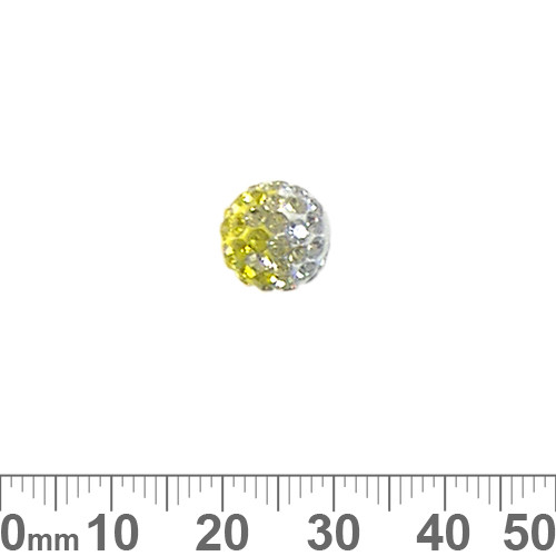 10mm Sparkly Trans Yellow/Clear Pave Bead