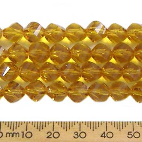 Dark Amber 7mm Helix Glass Crystal Strands