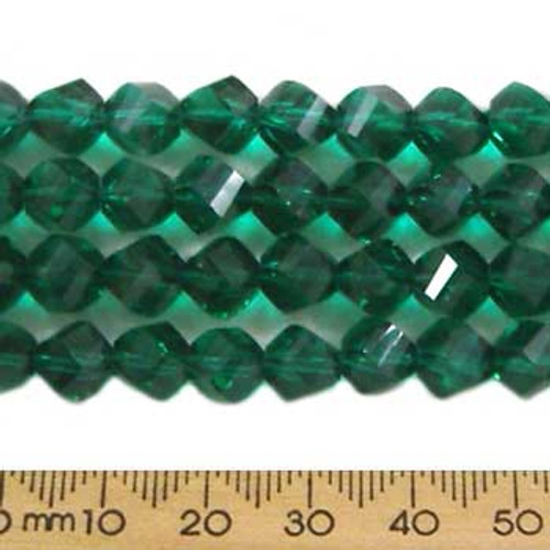 Teal Green 7mm Helix Glass Crystal Strands