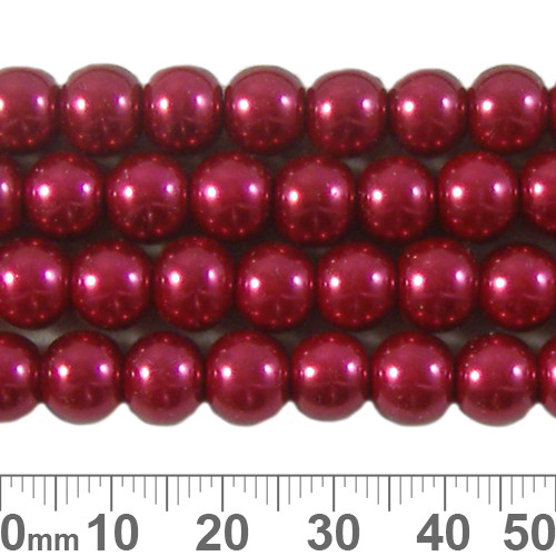 8mm Deep Red Glass Pearl Strands