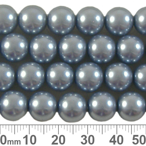 10mm Grey Blue Glass Pearl Strands