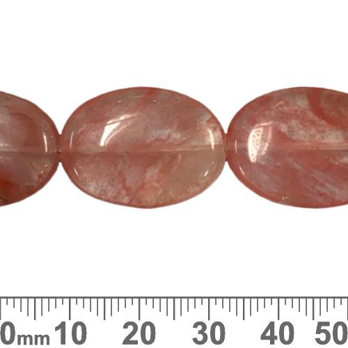 "Cherry ""Quartz"" 25mm Flat Oval Beads"
